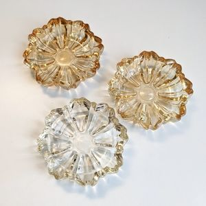 Set of 3 yellow ombre glass vintage ashtrays